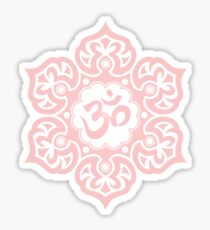 Om symbol stickers redbubble pink lotus flower yoga om sticker mightylinksfo