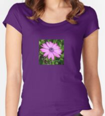 Single Pink African Daisy Against Green Foliage Women's Fitted Scoop T-Shirt