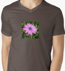 Single Pink African Daisy Against Green Foliage Mens V-Neck T-Shirt