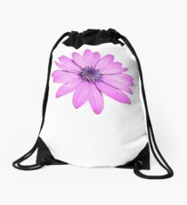 Single Pink African Daisy Against Green Foliage Isolated Drawstring Bag