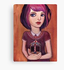 Waiting : Carousel Girl Painting Canvas Print