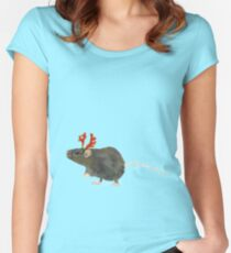 Christmas Rat  Women's Fitted Scoop T-Shirt
