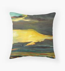 The Spirits Passed Across the Firy Sunset  and the Houselights Flickered Below Throw Pillow