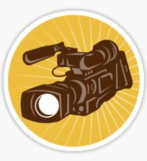 Professional Video Camera Camcorder Retro Sticker