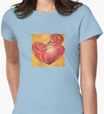Lovers Kiss And Their Bodies Form A Love Heart Womens Fitted T-Shirt