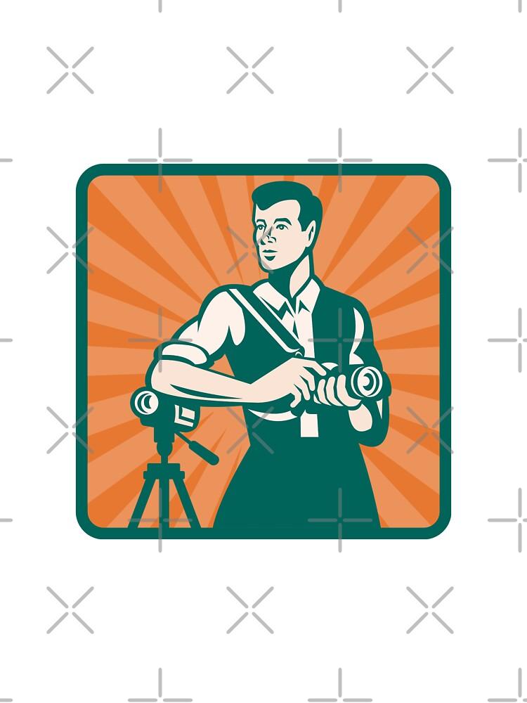 Photographer With DSLR Camera and Video Retro by patrimonio