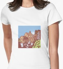 Water Wheel Mill House Retro Womens Fitted T-Shirt