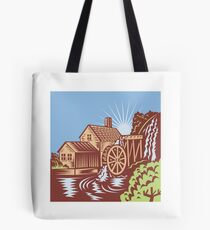 Water Wheel Mill House Retro Tote Bag