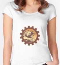 Welder Worker Welding Torch Retro Women's Fitted Scoop T-Shirt