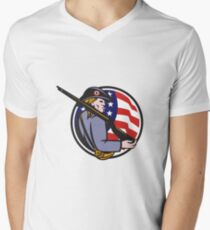 American Patriot Minuteman With Rifle And Flag Men's V-Neck T-Shirt