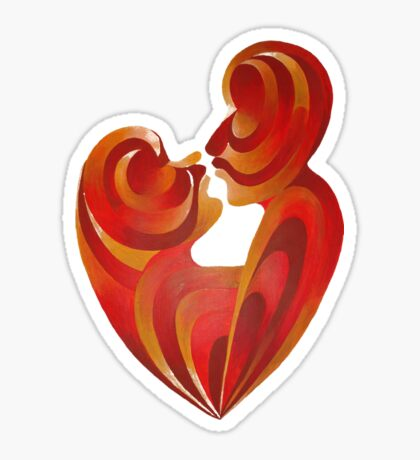 Lovers Kiss And Their Bodies Form A Love Heart Isolated Sticker
