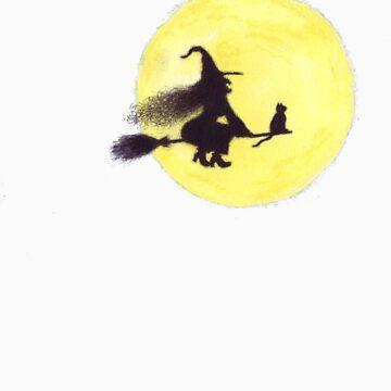 FLYING BY THE FULL MOON by HeidiHoHo