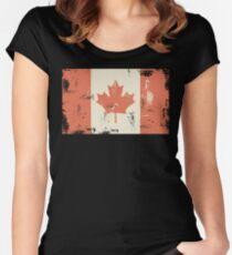 Grungy Canadian Flag Women's Fitted Scoop T-Shirt
