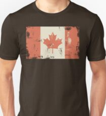 Grungy Canadian Flag Slim Fit T-Shirt