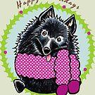Schipperke Happy Howlidays Christmas Card by offleashart