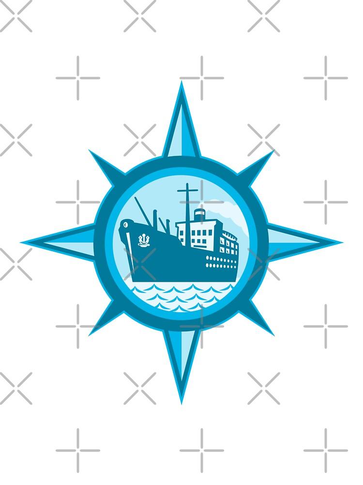 Passenger Cargo Ship Ocean Liner Compass by patrimonio