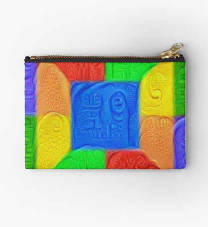 DeepDream Color Squares Visual Areas 5x5K v13 Zipper Pouch