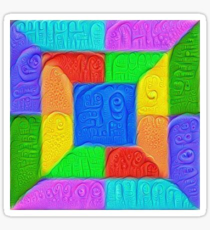 DeepDream Color Squares Visual Areas 5x5K v13 Sticker