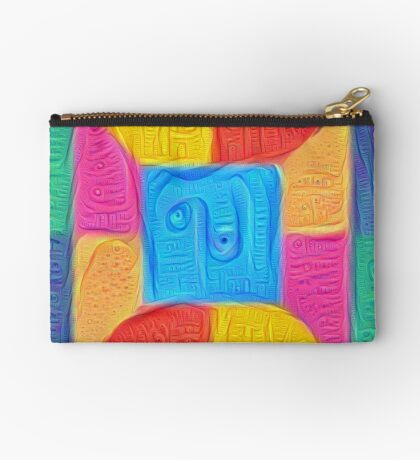 DeepDream Color Squares Visual Areas 5x5K v14 Zipper Pouch