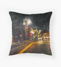 The Dark Streets of Gotham City Throw Pillow