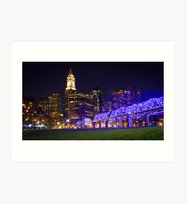 Christopher Columbus Park, Boston, Night Art Print