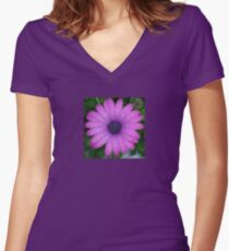 Purple African Daisy with Raindrops Women's Fitted V-Neck T-Shirt
