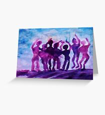 Cheering on the team, watercolor Greeting Card