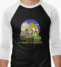 Mr Stampy cat and dogs at sunset Men's Baseball ¾ T-Shirt