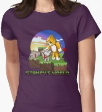Mr Stampy cat and dogs at sunset Womens Fitted T-Shirt