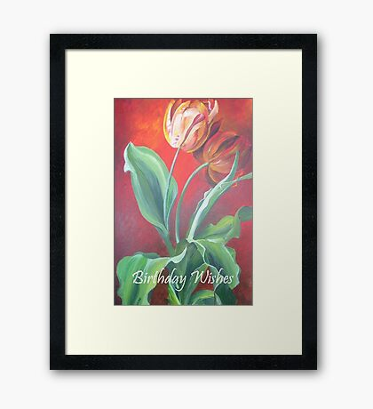 Birthday Wishes Red and Yellow Tulips Framed Print