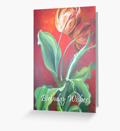 Birthday Wishes Red and Yellow Tulips Greeting Card