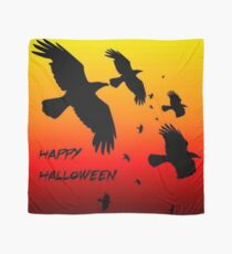 Happy Halloween Murder of Crows Against Sunset Scarf