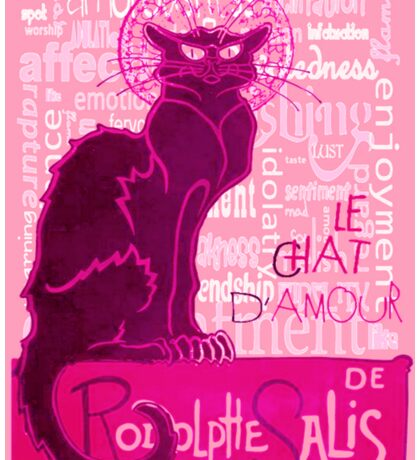 Le Chat D'Amour In Pink With Words of Love Sticker