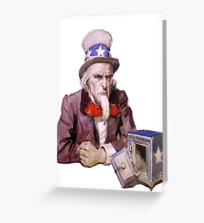 Uncle Sam with Empty Treasury Greeting Card