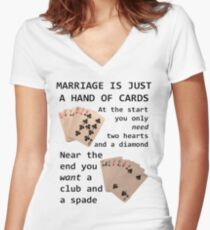 Hearts, Diamonds, Spades and Clubs Women's Fitted V-Neck T-Shirt