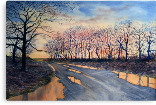 Reflections - Road from Sledmere, Winter by Glenn Marshall