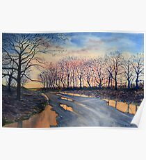 Reflections - Road from Sledmere, Winter Poster