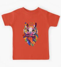 Owl - Black Background Kids Clothes