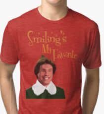 Buddy The Elf - Smiling's My Favorite Tri-blend T-Shirt