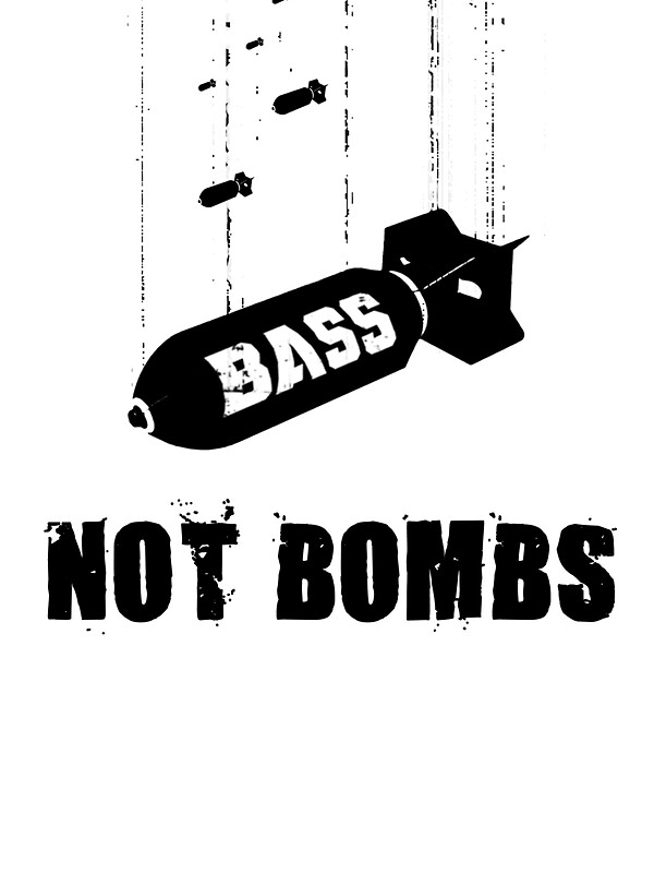 """""""Drop bass not bombs"""" Stickers by lab80 