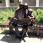 Bench With 3 Bronze Statues Reading, University of Nebraska, Lincoln Nebraska by Jane Neill-Hancock