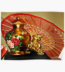 Chinese Decor On the Buffet Table, A Dragon, Parasol and Rose Vase Poster