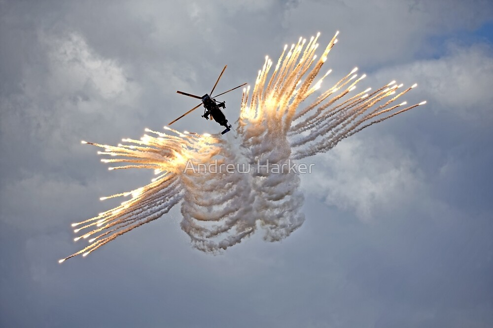 Westland Sea King HC.4 firing anti-missile decoy flares by Andrew Harker