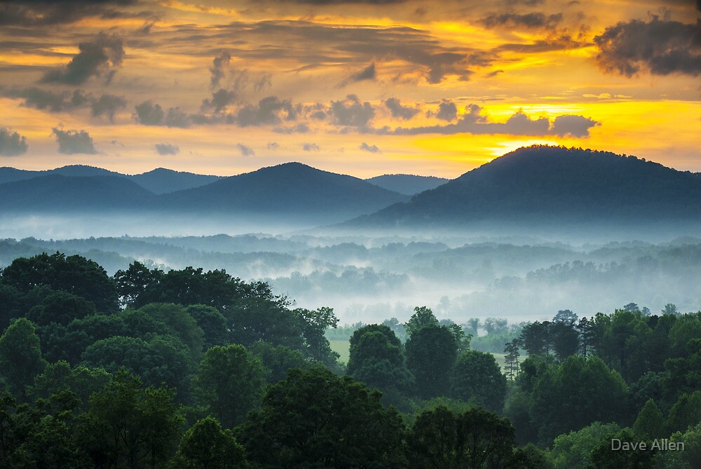 Asheville NC Blue Ridge Mountains Sunset - Welcome to Asheville by Dave Allen