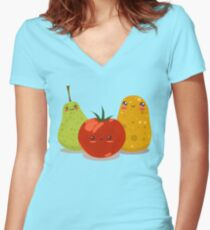 Funny Fruits Fun Pack 2 Women's Fitted V-Neck T-Shirt