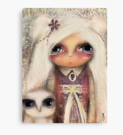 cameo girl and owl companion Canvas Print