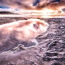 lake taupo under sunrise and morning frost reworked by pieter van der walt