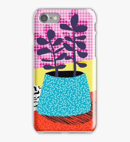 Shibby - neon 80's throwback potted plant indoor garden pink yellow red grid memphis los angeles palm springs resort hipster iPhone Case/Skin