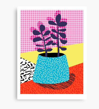 Shibby - neon 80's throwback potted plant indoor garden pink yellow red grid memphis los angeles palm springs resort hipster Canvas Print