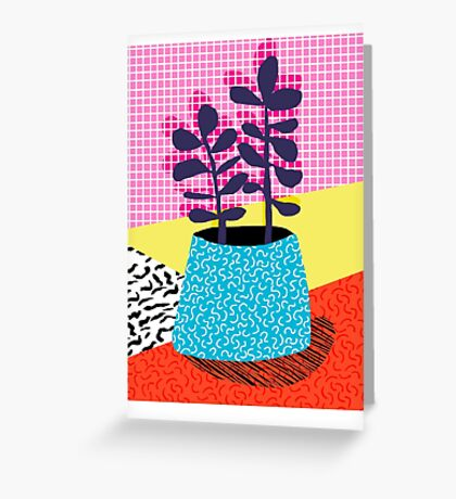 Shibby - neon 80's throwback potted plant indoor garden pink yellow red grid memphis los angeles palm springs resort hipster Greeting Card